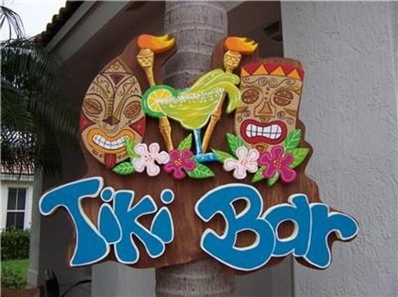 Tropical Tiki Torch Hibiscus Bar Home Decor  Wood Sign