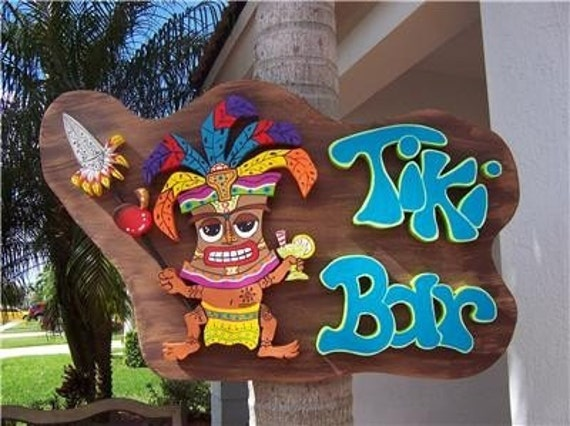 Tropical tiki bar home decor wood sign for Tiki decorations home