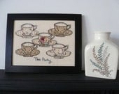 Tea Party - 5 cups of tea - Freehand machine embroidery and applique picture.