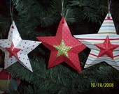 Rustic Christmas Stars Ornaments Gift Tags Set of 3