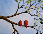 Birds art prints ... Together At Last -- 8 x 10 Glossy Print from my original painting