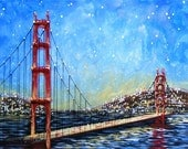 Golden Gate art prints  ...Golden Gate Bridge -- 8 x 10 Glossy Print, from my original art