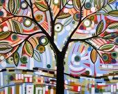 Fun tree landscape art print ... Drops of Sunlight -- 8 x 10 Glossy Print, from my original art
