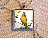 Glass Pendant - Art print under glass -  gift boxed, comes with free ball chain necklace - Everything you need for the perfect holiday gift