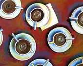 """Coffee art print, titled """"Coffee House"""" -- 8 x 10 Glossy Print, great gift idea for your coffee lover friend"""