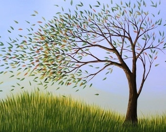 Tree art print ... Blown Away -- 8 x 10 Glossy Print, from my original painting