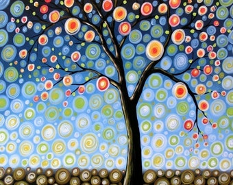 Tree art print ... Midnight Tree -- 8 x 10 Glossy Print, from my original painting