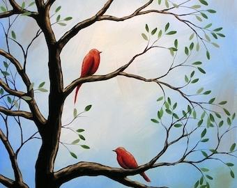 Red birds art print ... Duet -- 8 x 10 Glossy Print from my original painting