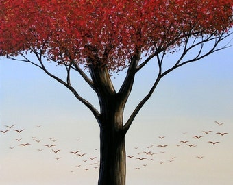 Red tree art print ... Stand Tall -- 8 x 10 Glossy Print