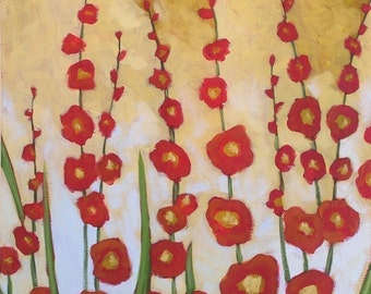 Floral wall decor print ... Hollyhocks -- 8 x 10 Giclee from my original painting