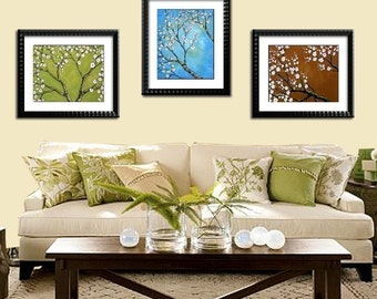 Cherry Blossom art prints ... set of (3) 8 x 10s ... prints of my original paintings by Amy Giacomelli
