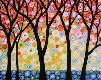 Colorful tree art print ... Joyful Sky -- 8 x 10 Glossy Print, from my original painting