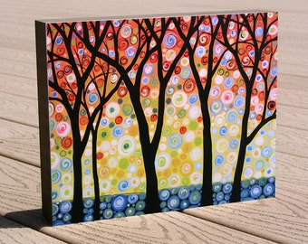 "Affordable gift art print ...8 x 10 giclee print mounted on cradled birch panel...ready to hang...""Joyful Sky"""