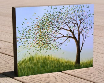 Tree art print ...8 x 10 mounted to a deep birch panel...ready to hang....Blown Away by Amy Giacomelli, Great gift idea