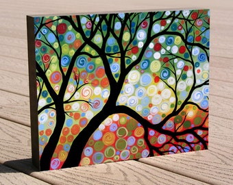 "Gift of art print ...8 x 10 modern tree print mounted on cradled birch panel...ready to hang...""In the Limelight"""