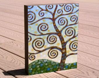 Tree art print ...8 x 10 mounted to a deep birch panel...ready to hang....Constant Dreamer, fun tree art print, Great gift idea