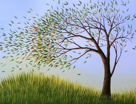 Tree art print ... Blown Away -- 8 x 10 Glossy Print, from my original painting
