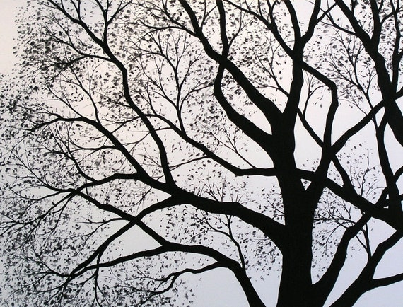Black and white tree art print ... 8 x 10 Glossy Print -- Silhouette 5, from my original painting