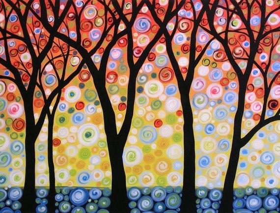 Colorful tree art print ... Joyful Sky -- 8 x 10 Glossy Print, from my original painting