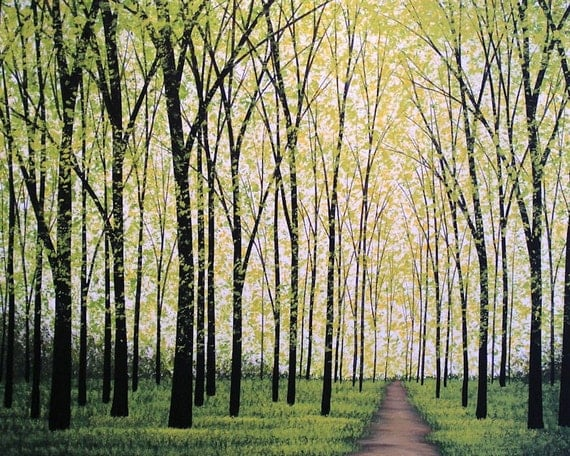 Landscape tree prints ... Silent Forest -- 8 x 10 Glossy Print, from my original painting