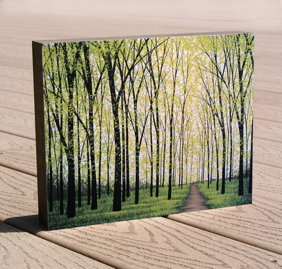 "8 x 10 art print mounted to a deep birch panel, ready to hang.... ""Silent Forest"" by Amy Giacomelli, Christmas or birthday gift"