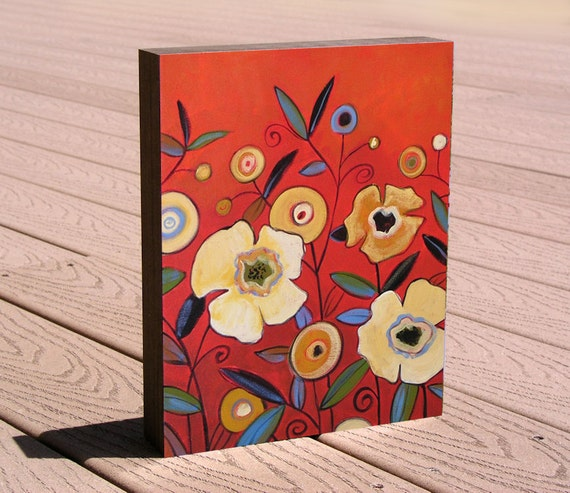 "Floral Gift Art Print mounted on cradled birch panel, 8 x 10...ready to hang...""Splendor"", by Amy Giacomelli"