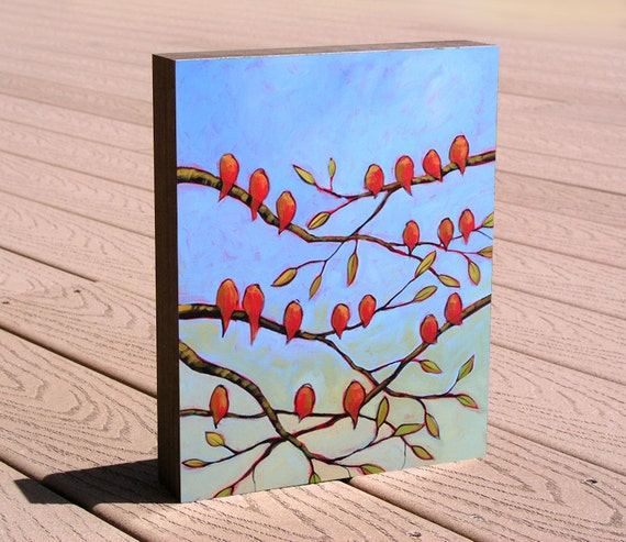 "8 x 10 art print from my original painting mounted to a deep birch panel ...""Red Bird Chorus"", by Amy Giacomelli ... great gift size"