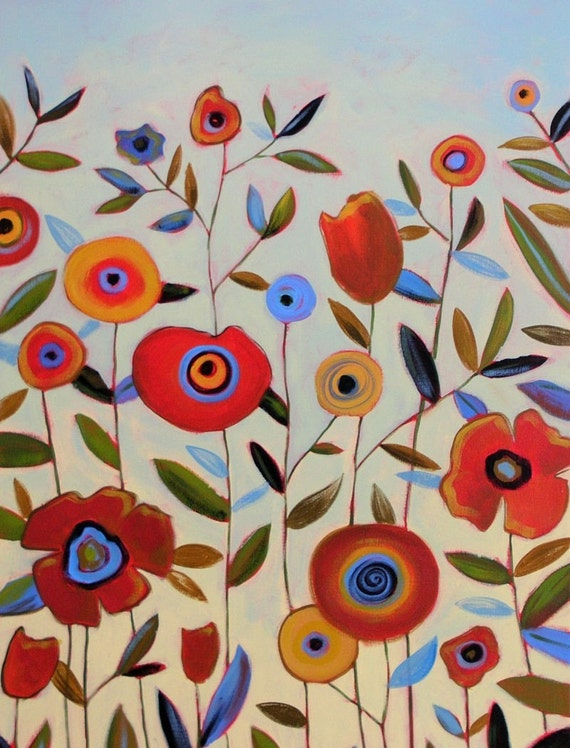 Floral art print ... Spring Meadow -- 8 x 10 Glossy Print, from my original painting