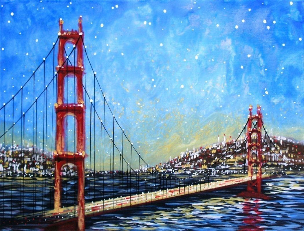 Golden Gate Bridge Acrylic Painting Easy