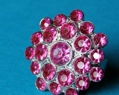 Rhinestone Cluster Adjustable Ring - Hollywood in Hot Pink