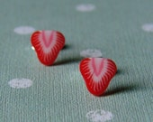Miniature Fruit Slice Earrings - Sassy Strawberry Studs