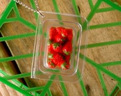 Miniature Box of Fresh Strawberries Necklace