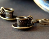 Miniature Antique Brass Cup and Saucer Earrings - Cute Coffee Cup Danglies