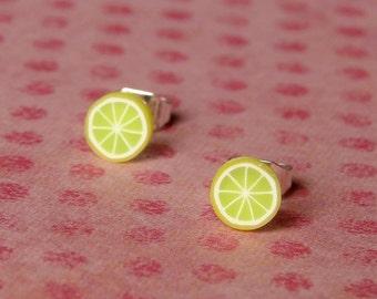 Miniature Fruit Slice Earrings - Yummy Yellow Limes