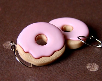 Miniature Pink Iced Doughnut Earrings - Fat Free Donut Danglies