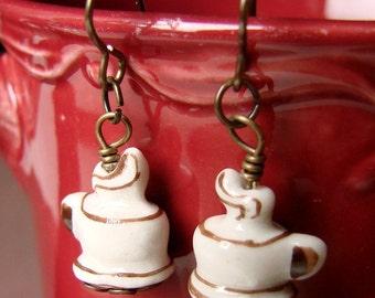 Coffee Cup Earrings - Coffee Jewelry - Miniature Food Jewelry - Porcelain Coffee Cup Dangly Earrings - Latte Earrings - Steamy Cafe Cuties
