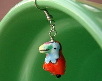 Miniature Porcelain Bird Earrings - Hot Tropical Tweets