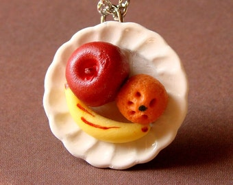 Miniature Fruit Plate Necklace - Miniature Fruit Jewelry - Miniature Food Necklace - Fruit Plate - Have a Piece of Fruit