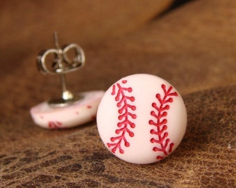 Miniature Baseball Stud Earrings - Ball Park Ear Gear