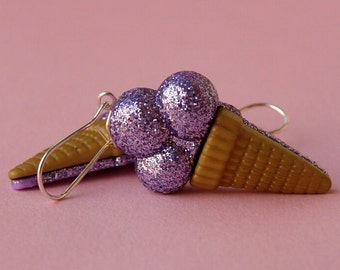 Miniature Ice Cream Cone Earrings - Shimmery Purple Glitter Ice Cream Cones