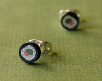 Miniature Polymer Clay Faux Food Earrings - Stunning Sushi Studs