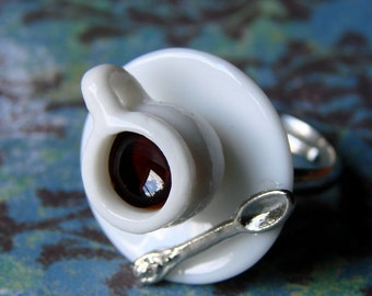 Miniature Tea Cup Adjustable Ring - Tiny Little Spot of Coffee (or tea, if you prefer)
