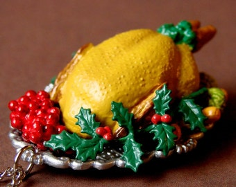 Miniature Faux Food Roasted Turkey Necklace - Festive Holiday Feast