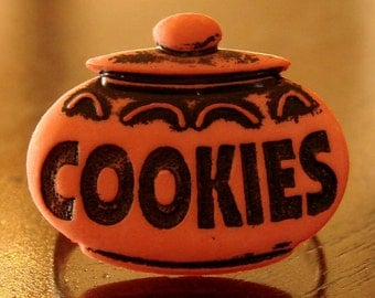 Miniature Cookie Jar Adjustable Ring - Vintage Cookie Jar