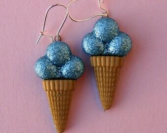 Miniature Ice Cream Cone Earrings - Shimmery Blueberry Ice Cream Cones