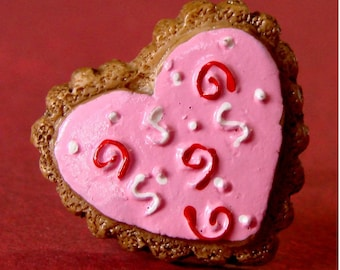 Miniature Food Jewelry Adjustable Ring - Super Sweet Swirls Iced Heart Cookie