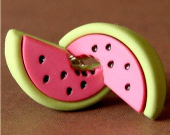 Miniature Watermelon Slice Earrings - Sassy Watermelon Studs