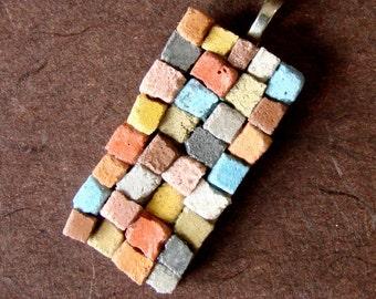 The Patchwork Quilt Mosaic Pendant - A Dirt Road South Exclusive - Mosaic Pendant - OOAK Original Art Pendant - Wearable Art Jewelry