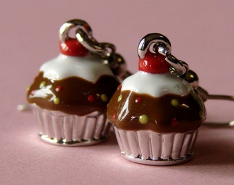 Miniature Cupcake Earrings - Chocolate Cuppycakes with Sprinkles