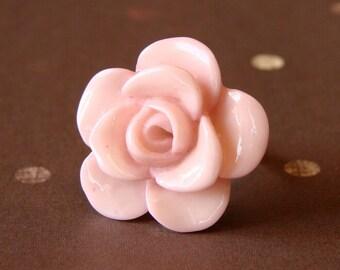 Pale Pink Rose Bloom Adjustable Ring